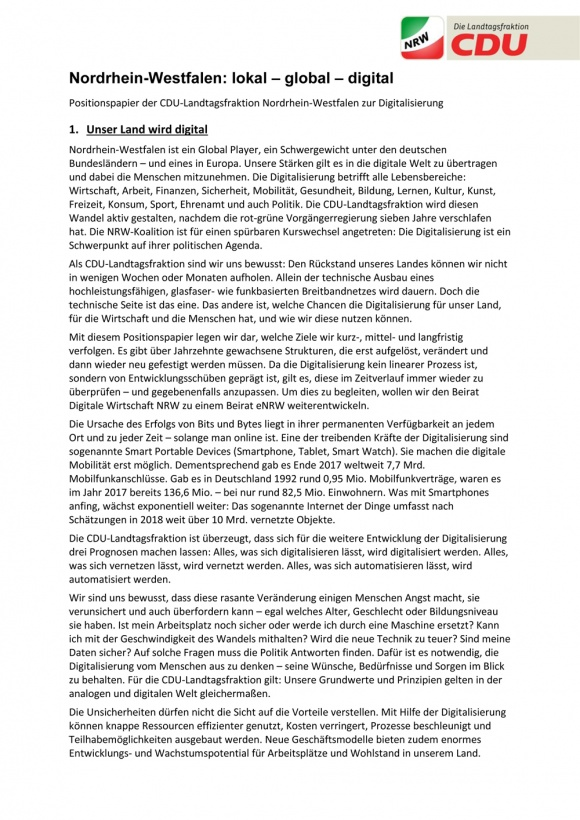 Nordrhein-Westfalen: lokal - global - digital